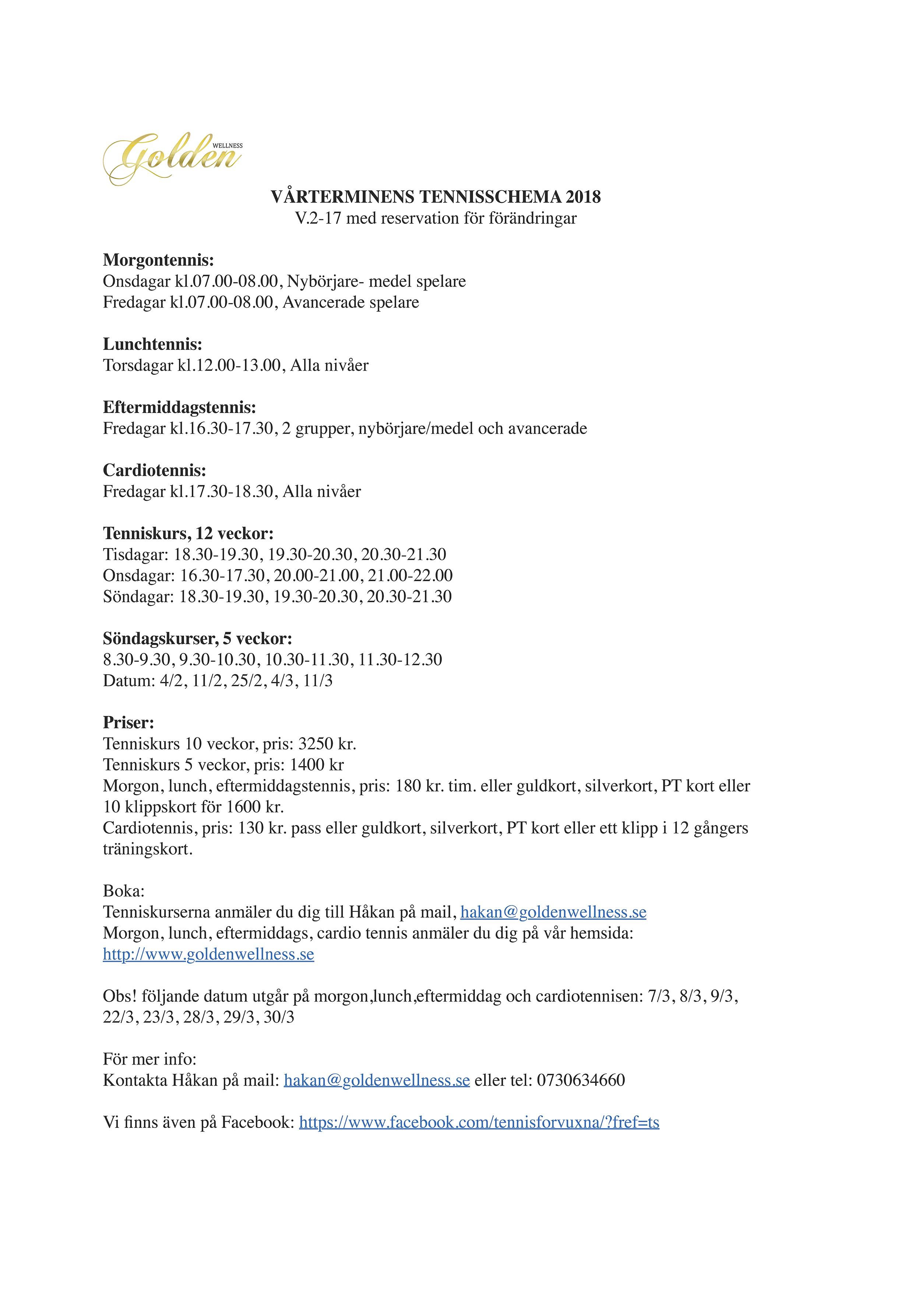 VÅRTERMINENS TENNISSCHEMA 2018